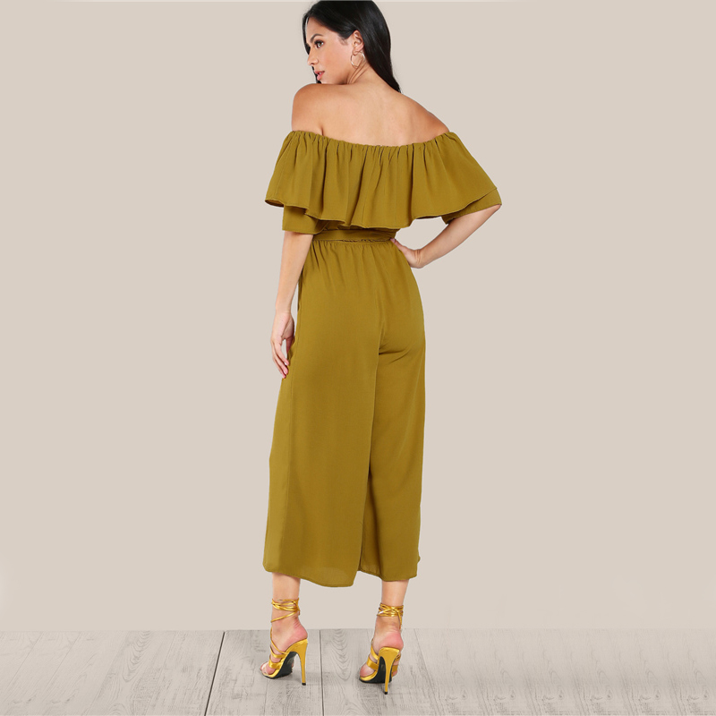 COLROVIE Sexy Flounce Culotte Jumpsuit Women Off Shoulder Self Tie Yellow Jumpsuits 2017 New Ruffle Half Sleeve Elegant Jumpsuit 6