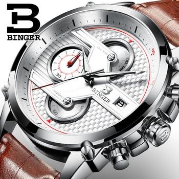 Switzerland luxury Men's watch BINGER brand quartz Watches Men Big Dial Designer Chronograph Water Resistant clock B-9018-4