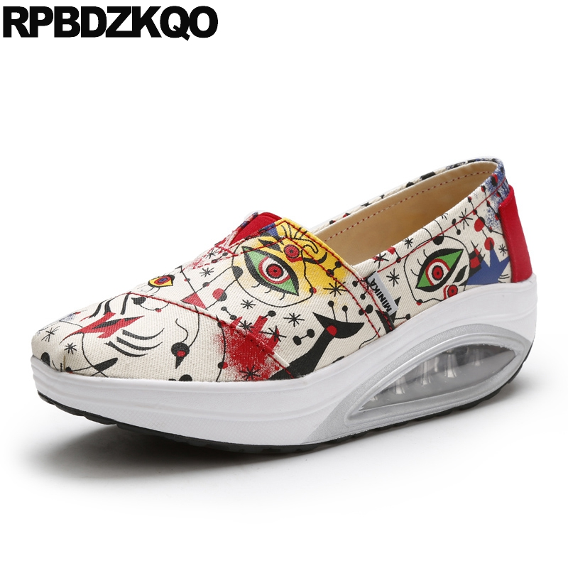 Cheap Shoes China White Printed Floral Elevator Women Round Toe Canvas Walking Thick Sole Wedge Swing Drop Shipping Spring