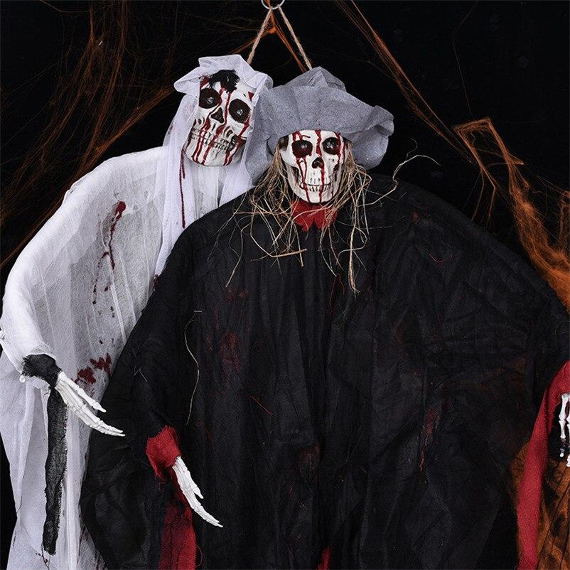Super grand 1.8 m suspendu fantôme sanglant Halloween décoration horreur crâne fantôme poupée partie effrayant Prop électrique effrayant squelette jouet