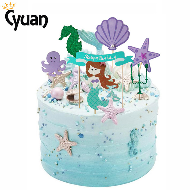 Cyuan Mermaid Cake Topper DIY Party Decoration Happy Birthday Cupcake Toppers Favors Decorating Tools