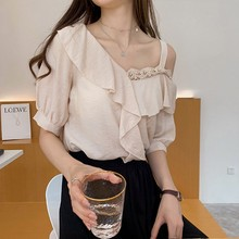 womens tops and blouses Off Shoulder Stitching Round Neck Short Sleeve Hollow Summer Chiffon Casual