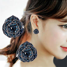 Fashion Jewelry Women Temperament Sweet Flash Crystal Rose Camellia Flower Korean Earrings Crystals Stud