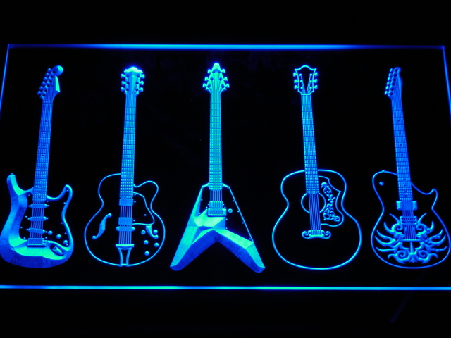 C099 Guitar Weapons Band Room Led Neon Sign With On Off