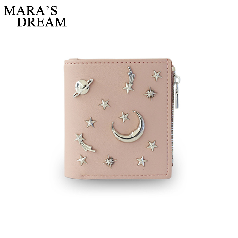 Mara's Dream Wallet Women Newest Female Wallet Zipper Fashion PU Leather Star Rivets Sequined Lady Short Purse Card Holder Bags