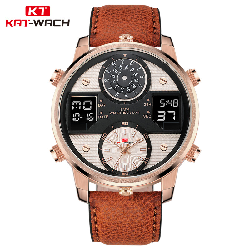 KAT-WACH Military Watch with Genuine Leather Strap Big Case 3D Two Layers Dial Three Movement Quartz Digtal Black Watch For Men