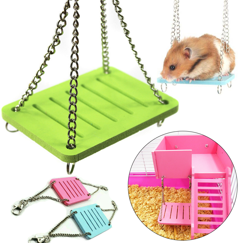 Rainbow Hamster Toys Swing Hanging Gadget Wooden Cage Accessories Supplies Amuse Mouse Wooden Hamster Swing Toy Drop Shipping