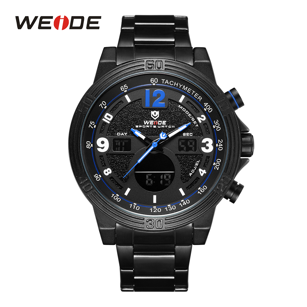 WEIDE High Quality Mens Brand Back Light Chronograph Alarm Stop Watch Water Resistant Stainless Steel Strap Army Wristwatches weide high quality watch men luxury brand big dial 3atm water resistant stainless steel back lcd wristwatches with alarm items