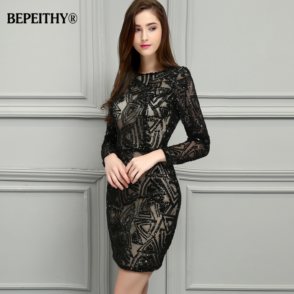 BEPEITHY manches longues courtes robes De bal robe réfléchissante Vestidos De Festa Sexy dentelle noir Mini robes De bal 2019