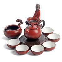 Dehua Ceramic tea sets Ru kiln Kung Fu teapot suits gift box Style novel and beautiful