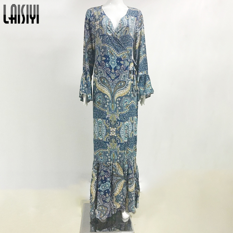 LAISIYI Vintage Bohemian Womens Summer Dresses 2017 Long Sleeve Maxi Dresses Sexy V neck Boho Long Beach Dress ASDR20133