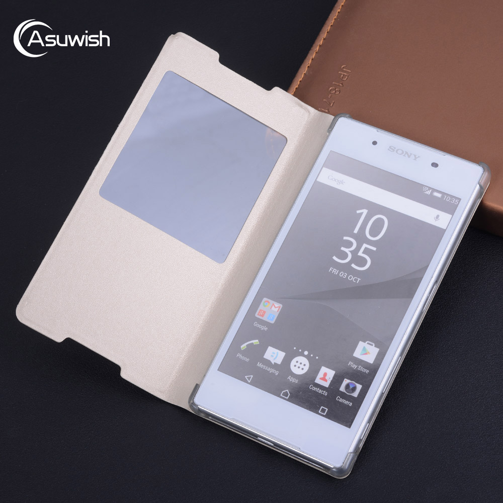 Flip Cover Leather <font><b>Case</b></font> For <font><b>Sony</b></font> <font><b>Xperia</b></font> <font><b>Z5</b></font> Z 5 SonyZ5 E6603 <font><b>E6653</b></font> Dual E6683 E6633 5.2 Inch <font><b>Cases</b></font> Clear View Window Phone image