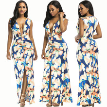 2019 new European and American Deep V-neck womens sexy Digital Print Sexy Nightclub Multicolor Dress Beach dress