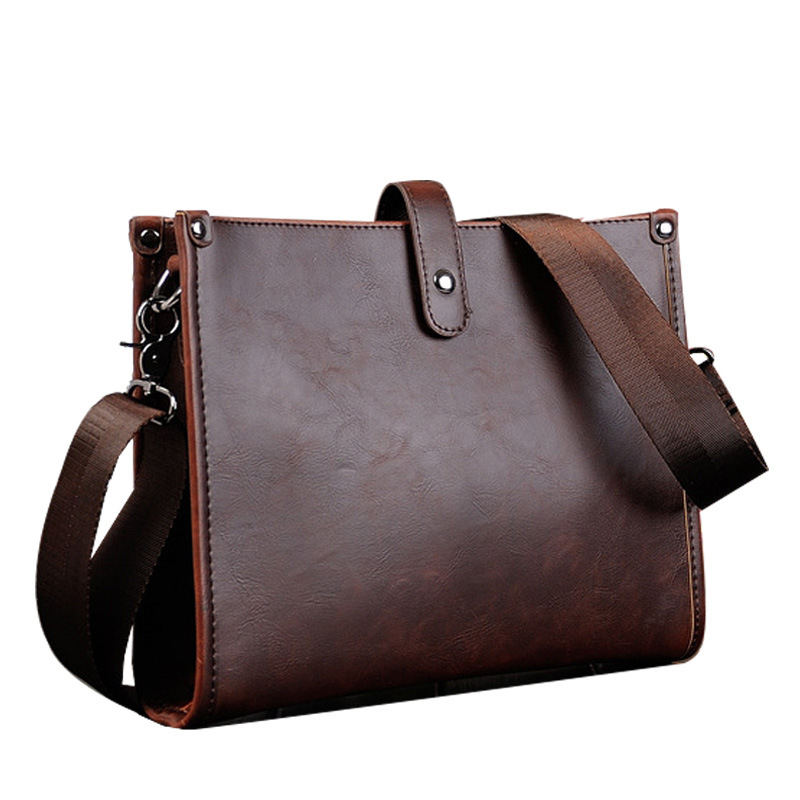 Mens Business Office Pack A Small Bag Cross Section Male Package Pu Crazy Horse Leather Men Single Shoulder Bag