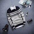 Бесплатная Доставка Осенние новые модели шею длинными рукавами мужские свитера пуловеры тонкий пальто мужской Одежды Свитера