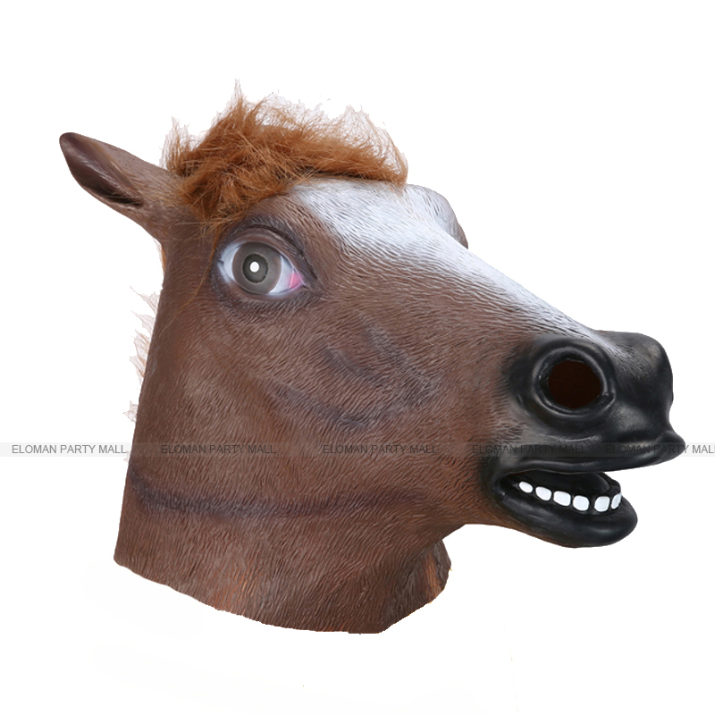ELOMAN 100%Natural latex unicorn cosplay mask adult party super funny zebra horse head mask for crazy party supplies