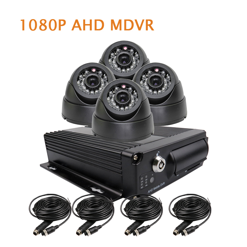 Free Shipping 4 Channel H.264 1080P HD AHD 256GB SD Car DVR MDVR Video Recorder 4pcs IR InCar Dome Car Camera for Truck Van Bus 4 channel 256g sd car vehicle dvr mdvr video recorder kit cctv rear view camera dome camera for truck van bus free shipping