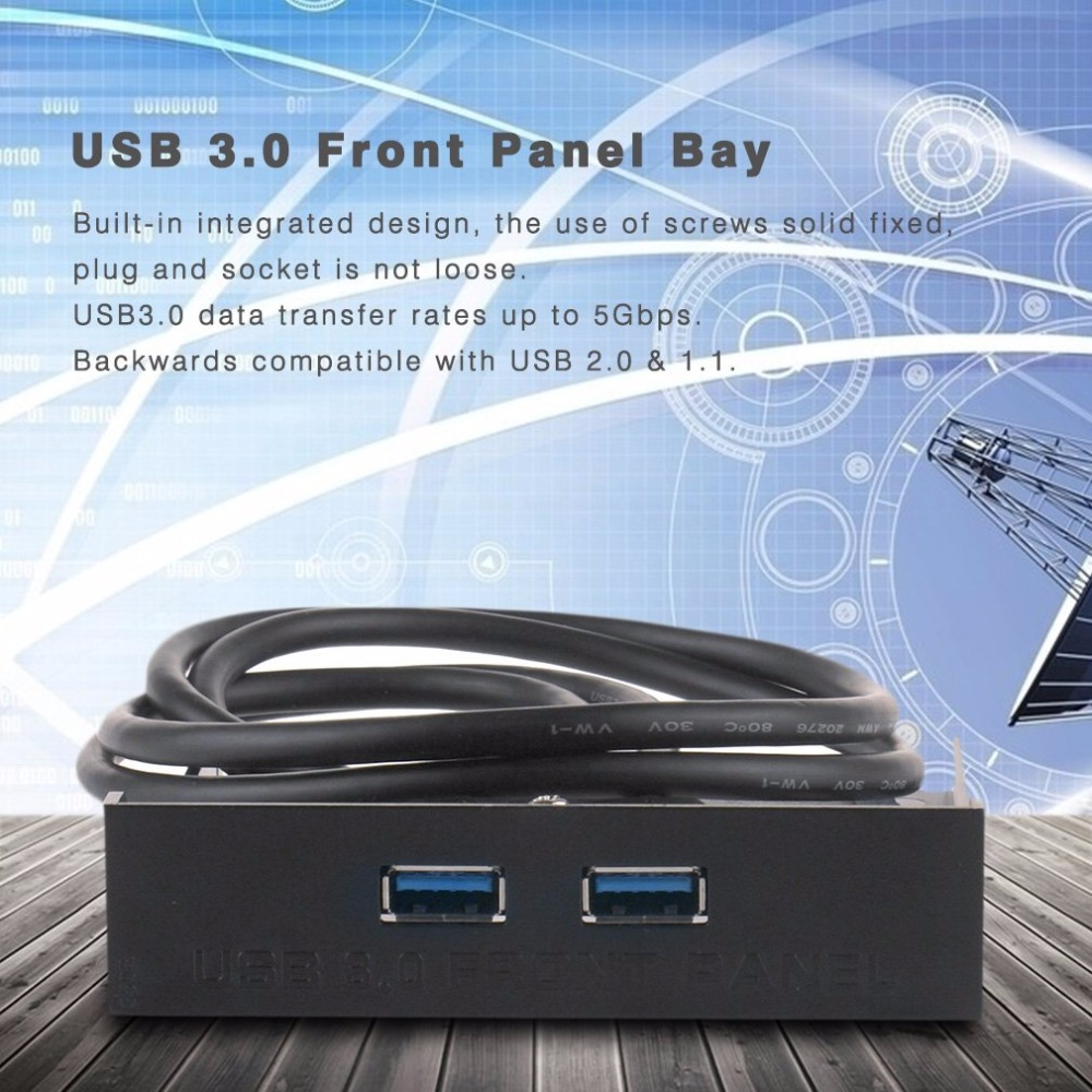 20-Pin 2 Port High Speed USB 3.0 Front Panel Cable Adapter Computer Floppy Disk Built-in Panel For PC Desktop Floppy Bay