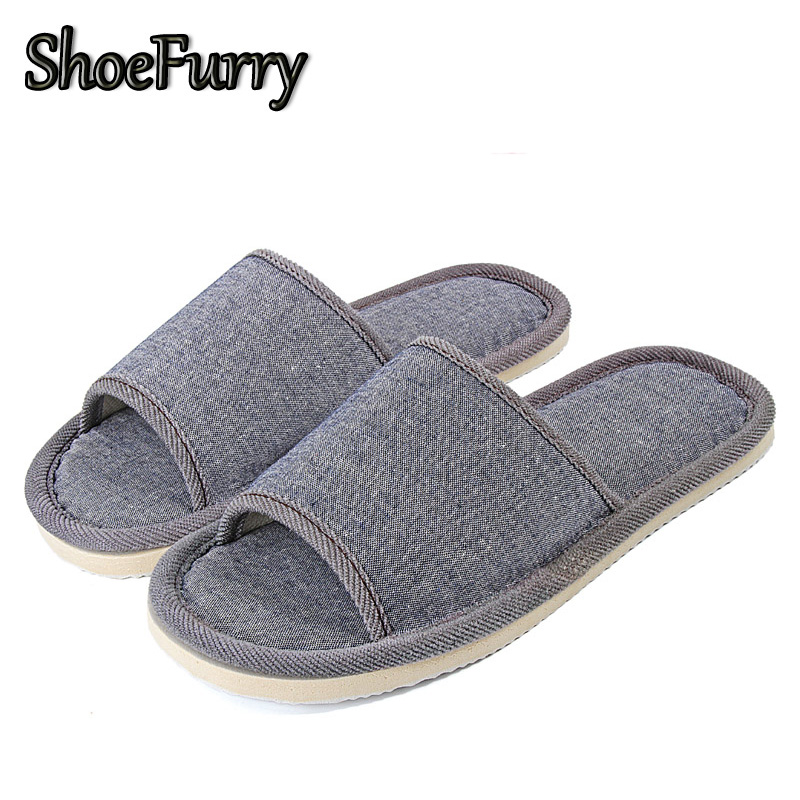 ShoeFurry Summer Men Flax Slippers Indoor Casual Shoes Breathable Sweat Linen Slippers For Man Beach Sandals Male Home Slippers