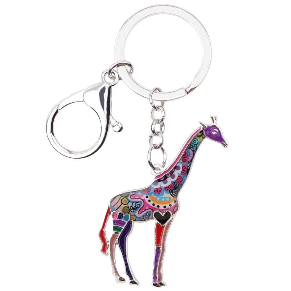 Bonsny эмалированный металлический Африканский джунгли брелок в виде жирафа брелок для ключей Подвески для женщин сумка для автомобиля ювелирные изделия новинки подарок оптом