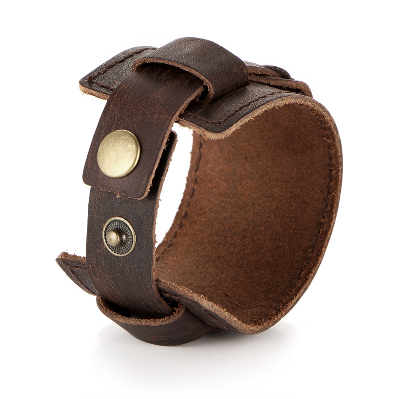 IF YOU Fashion Wide Double Layer Wrap wristband Leather Bracelet Homme Cuir For Men Fashion Casual Rock Cuff Armband Bracelets 13