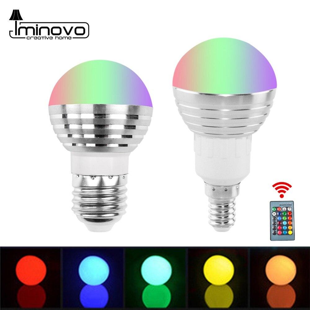E27 E14 RGB LED Bulb Lamp 3W 5W 10W Color Magic Spot Light Remote Control Dimmable 24key LED Night Light 110V 220V Holiday Bar