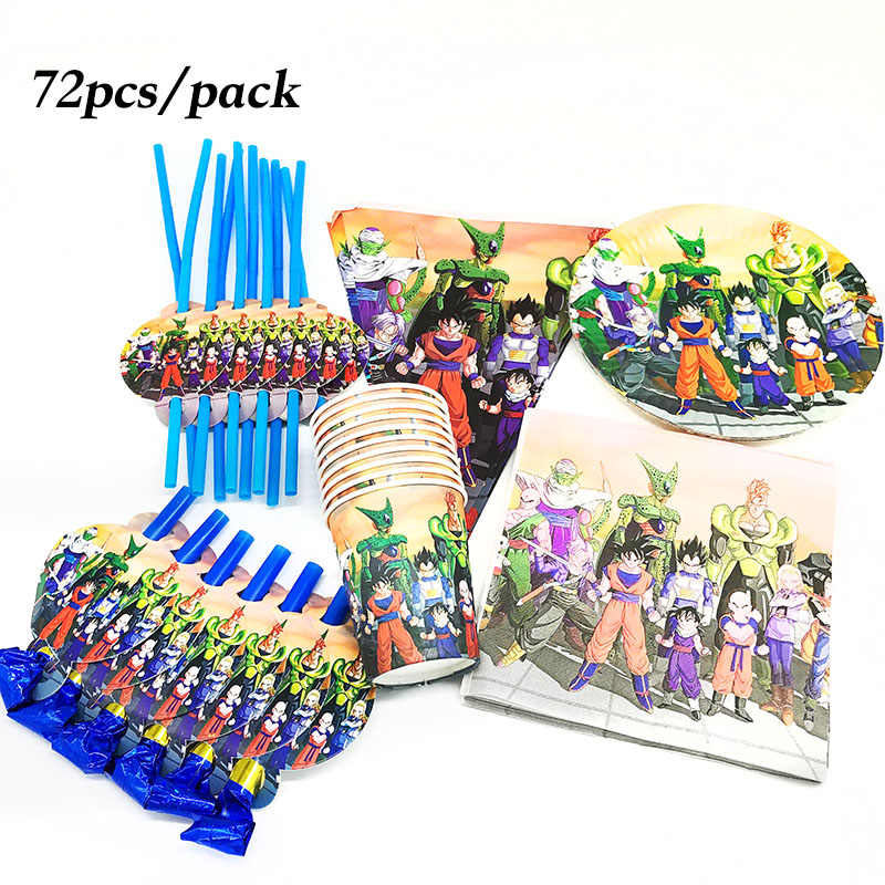72pcs Dragon Ball disposable plates cups napkins Dragon Ball theme disposable cups straws Dragon Ball birthday party supplies
