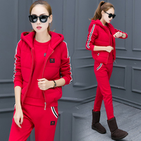 Casual 3 Piece Set Tracksuit Women Clothes new 2018 autumn and Winter fashion Ladies Thicken Sweat Suits