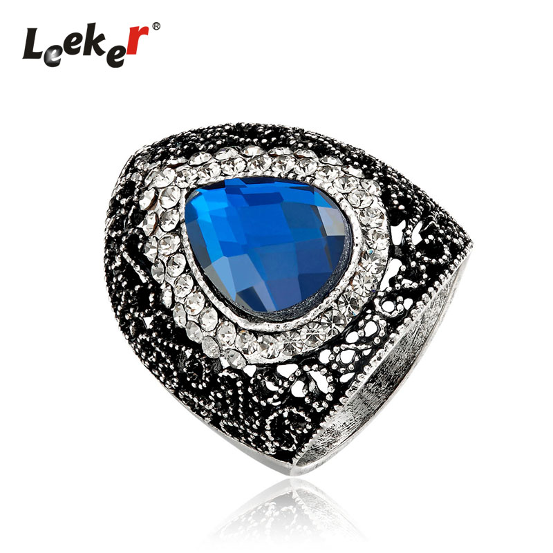 LEEKER Vintage Water Drop Blue Crystal Hollow Big Rings For Women Antique Silver Color Female Retro Party Jewelry 93151 LK1