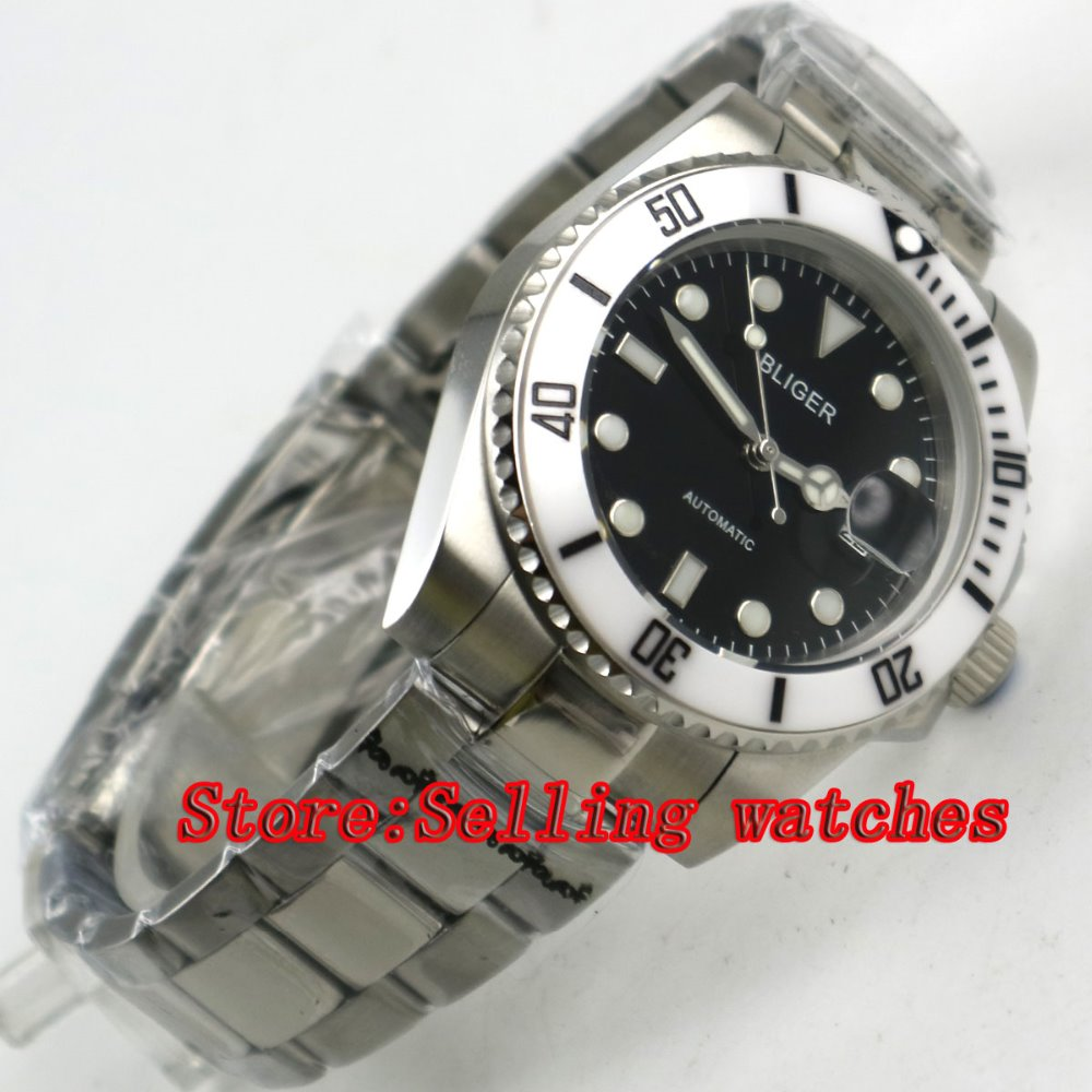 40mm Bliger black Dial ceramic bezel Stainless Steel Strap Sapphire Glass Automatic Movement Men's Mechanical Wristwatches p060 44mm bliger gray dial blue ceramic bezel sapphire crystal automatic movement men s mechanical wristwatches