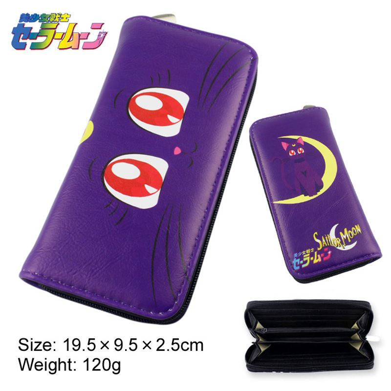 Anime Sailor Moon Luna Multifunction Casual Long Wallet/Cell Phone Clutch Purse/Portable Cash Purse moon flac jeans