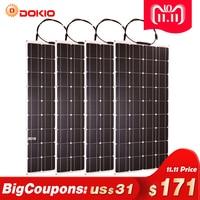 Dokio 4PCS 8PCS Solar Panel 100W Monocrystalline Solar Cell Flexible for Car/Yacht/Steamship 12V 24 Volt 100 Watt Solar Battery