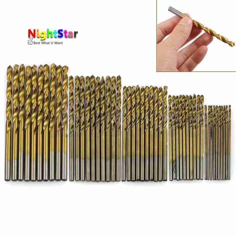 50Pcs Titanium Coated HSS High Speed Steel Drill Bit Set Tool 1/1.5/2/2.5/3mm Titanium drill toolfit tungsten carbide twist drill bit power tool high speed steel hss titanium coated drill bit set 1 4 hex shank 1 5 5mm