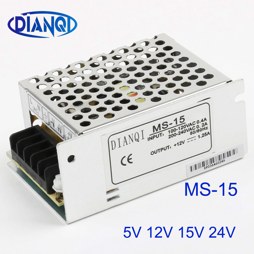 DIANQI power supply MS-15W 24v 12v 5v 15v mini size ac dc converter power supply unit dc voltage regulator MS-15-5 MS-15-24 image