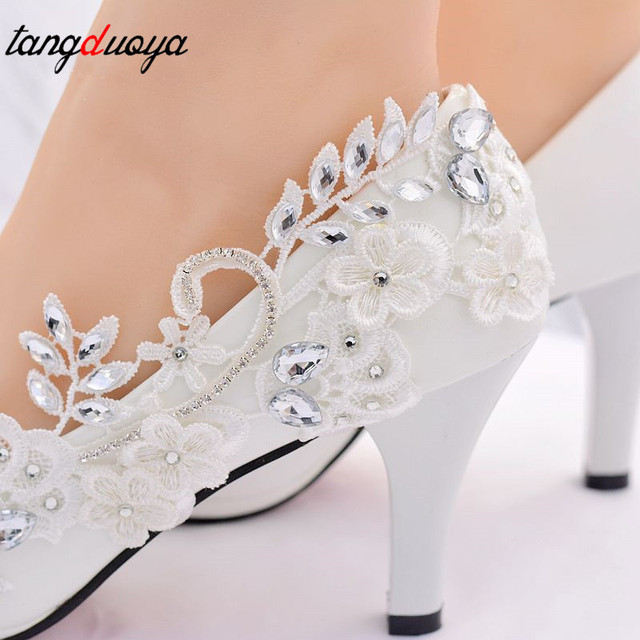 wedding shoes bride lace pumps women shoes with crystal high heels pointed toe shoes pumps ladies shoes high-heeled talon femme