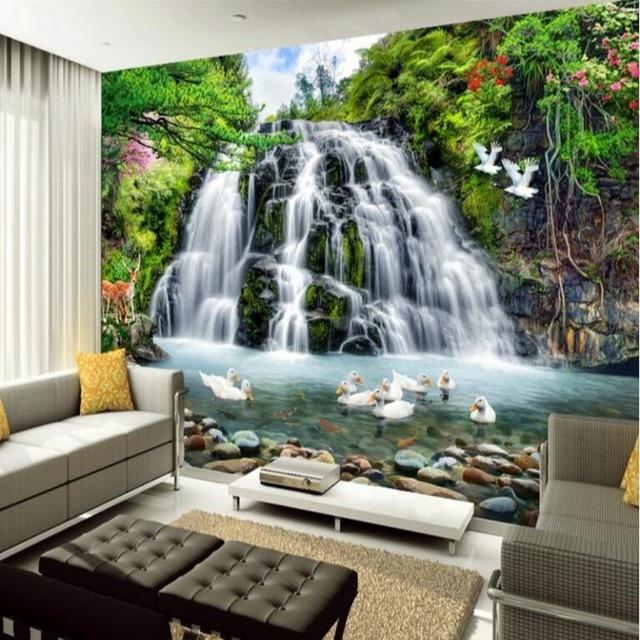 Gran paisaje cascadas mural wallpaper estilo europeo 3d - Murales de pared 3d ...