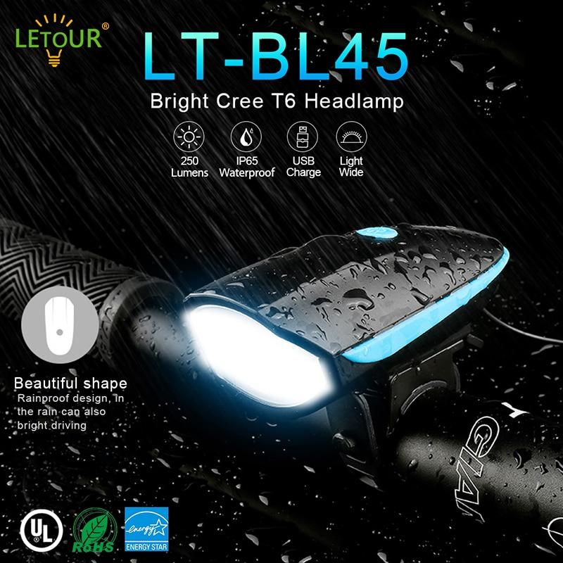 LED Bike Light 250Lm 3 Brightness Bicycle Llight Front Waterproof Headlight Bike With Speaker & USB Charging Set (Black)