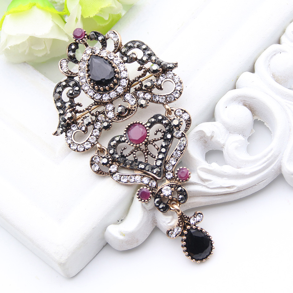 Detail Feedback Questions about Classic Turkish Vintage Hanging Brooch For  Women Ethnic Jewelry Antique Gold Color Multicolor Rhinestone Brooches  Broches ... dcaf13f48500