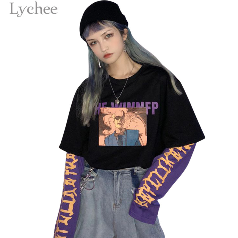 Lychee Vintage Fake 2 Pieces Character Letter Women Sweatshirt Hit Color O-Neck Long Sleeve Autumn Casual Loose Female Pullovers