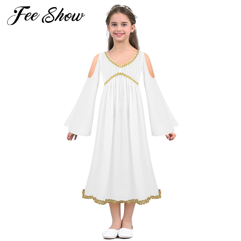 Kids Girls White Greek Goddess Dress Costume Kids Princess Role Play Party Cosplay Costumes Girls Clothes Halloween Party Dress