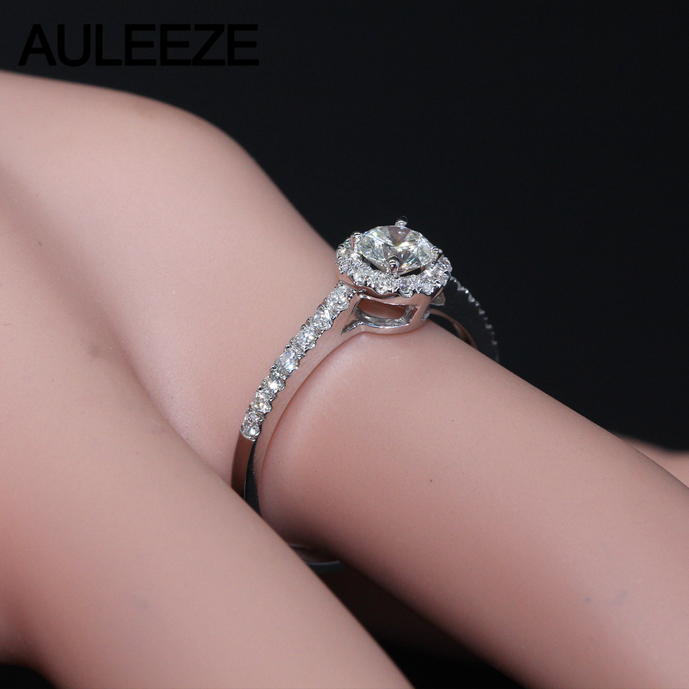 Halo 0.3CT Moissanite Engagement Ring 925 Sterling Silver Jewelry ...