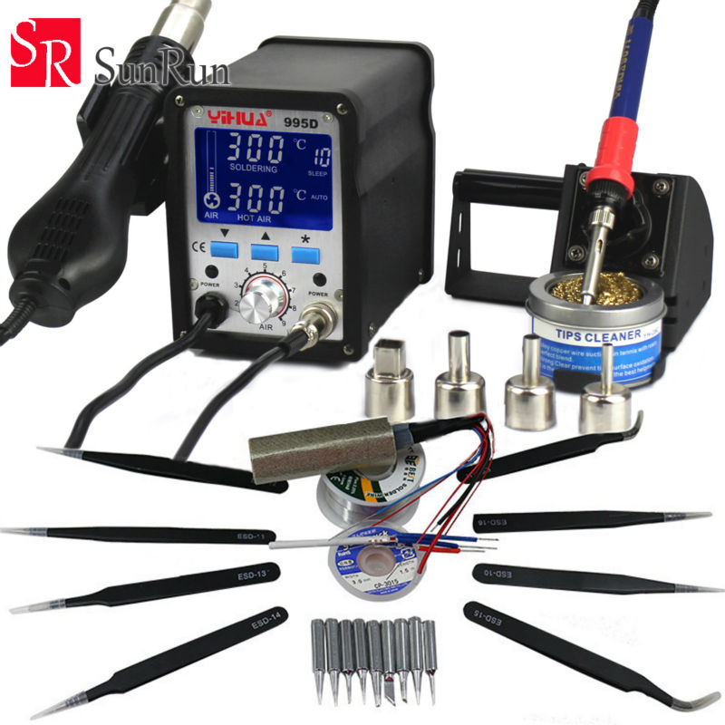 995D 2 In 1 Soldering Station Hot Air Gun 110v Or 220v With Free Gift Iron Tweezers Esd-10/11/12/13/14/15/16/17 hot fashion естественный цвет 10 12 14 16