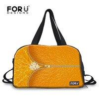 FORUDESIGNS Fruit Orange Printing Large Sports Bag Men Women Gym Bags with Shoes Fitness Bag Portable Shoulder Handbag Unisex