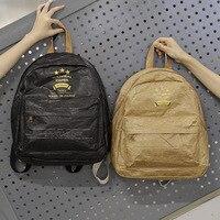 Solid Color Wrinkle Kraft Paper Material Fashion Girl Backpack Leisure School Bag
