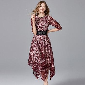 2a4966b59f8 2019 элегантный для женщин Цветочный кружево асимметричные платья  демисезонный плюс размеры лоскутное цветы платье