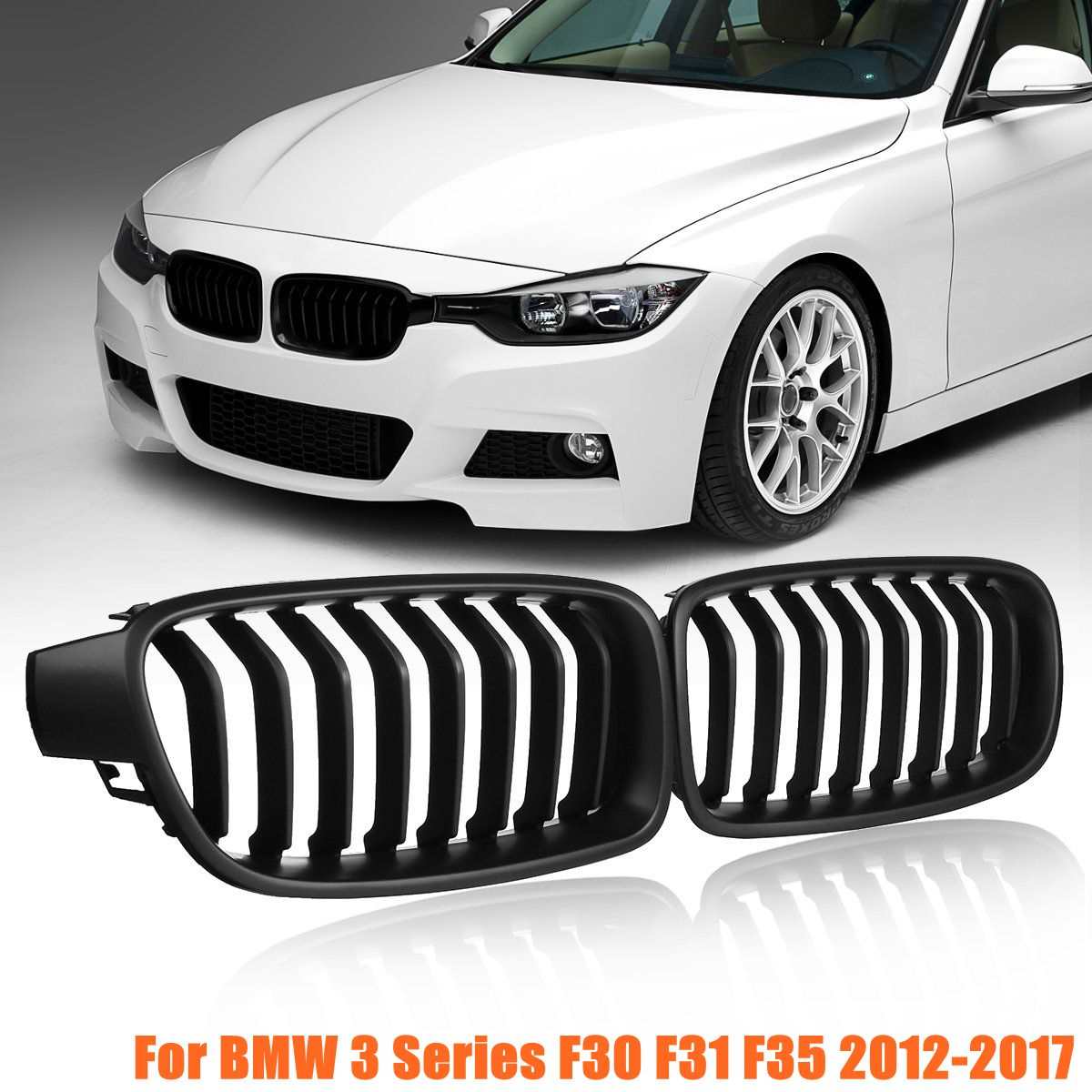 for BMW F30 F31 F35 3 Series 2012 2013 2014 2015 2016 2017 1Pair Front Kidney Grill Grilles Matte Black Car Styling Racing Grill image