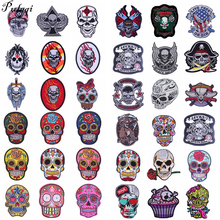 Pulaqi Skull Embroidery Iron 3d Patches For Clothing Badge Jacket Patch Decor Jeans Heat Transfers Sew On Punk H
