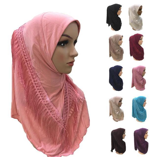 One Piece Amira Hijab Tassel Scarf Muslim Hijabs Women Headscarf Fringe Shawl Wrap Islamic Turban Full Cover Cap Niquabs Hijab