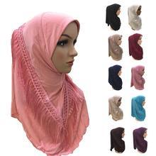 Uma peça amira hijab tassel cachecol muçulmano hijabs feminino lenço franja xale envoltório turbante islâmico capa completa niquabs hijab