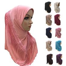 ワンピースアミラヒジャーブ房のスカーフイスラム教徒 hijabs 女性スカーフフリンジショールラップイスラムターバンフルカバーキャップ niquabs ヒジャーブ